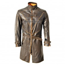 Watch Dogs Trench Coat Genuine Leather Jacket
